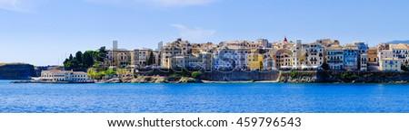 Panorama of  Corfu town from the sea. Old town buildings of Kerkyra island - stock photo