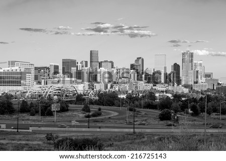 Panorama of Denver skyline long exposure at twilight in black and white. - stock photo
