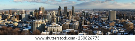 Panorama of downtown Montreal during winter from the mont royal mountain. - stock photo