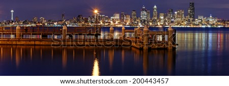 Panorama of Downtown Seattle from Alki Beach - stock photo