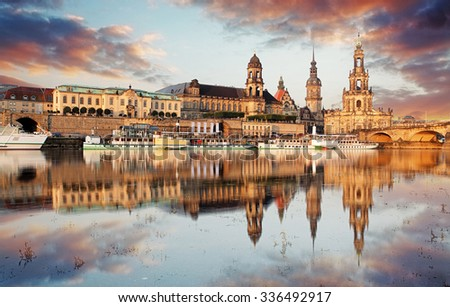 Panorama of Dresden Old Town over the Elbe River. - stock photo