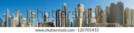 Panorama of Dubai Marina, view from the bay - stock photo