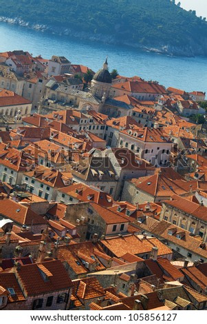 Panorama of Dubrovnik roofs in Croatia at sunrise, travel background - stock photo