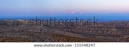 Panorama of Earth Forest National Geopark in Zanda County, Tibetan Autonomus Region of China. It is the largest clay forest that was formed due to the air-slaking of the tertiary stratum. - stock photo