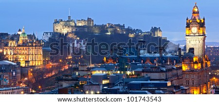 Panorama of Edinburgh Cityscape and castle from Calton Hill at dusk Scotland UK - stock photo