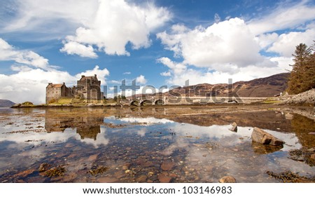 Panorama of Eilean Donan Castle and its Reflection on sea, Highland Scotland. - stock photo