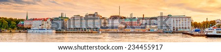 Panorama Of Embankment In Helsinki At Summer Sunset Evening, Sunrise Morning, Finland. Town Quay, Famous Place - stock photo