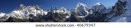 Panorama of Everest from the Renjo Pass, Nepal - stock photo