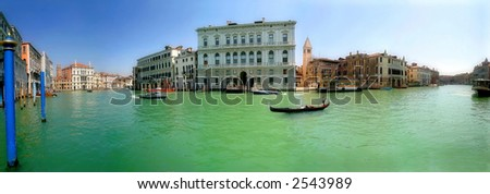 Panorama of famous Grand Canal and historic buildings in Venice, Italy. - stock photo