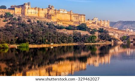 Panorama of famous Rajasthan indian landmark - Amer (Amber) fort, Jaipur, Rajasthan, India - stock photo