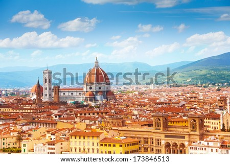 Panorama of Florence and Saint Mary of the Flower in Florence  - stock photo