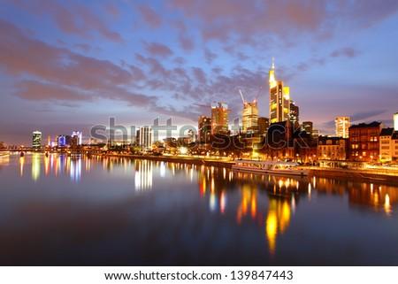 Panorama of Frankfurt am Mine at night, Germany - stock photo