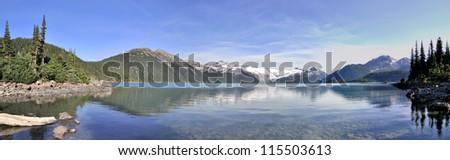 Panorama of Garibaldi Lake, British Columbia - stock photo