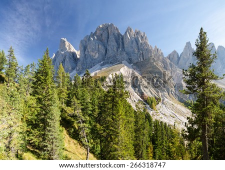 Panorama of Geisler mountains, Val di Funes, South Tyrol, Italy - stock photo