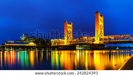Panorama of Golden Gates drawbridge in Sacramento at the night time - stock photo