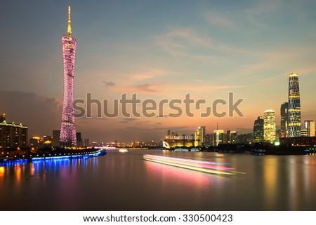 Panorama of Guangzhou in daytime, Zhujiang New Town - stock photo