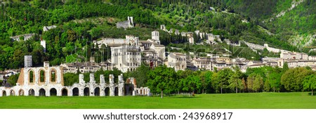 panorama of Gubbio - medieval town in Umbria, Italy           - stock photo