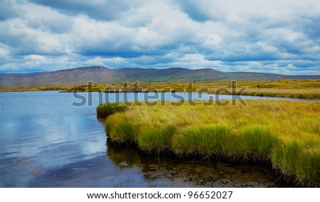 Panorama of habitat on the shore of Furnace lake in Conemara, Galway county, Ireland, before the storm. - stock photo