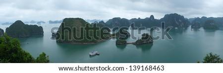 Panorama of Halong Bay, Vietnam, Southeast Asia - stock photo