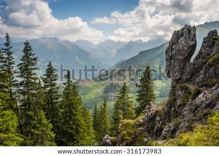 Panorama of high Tatra mountains in Poland. - stock photo