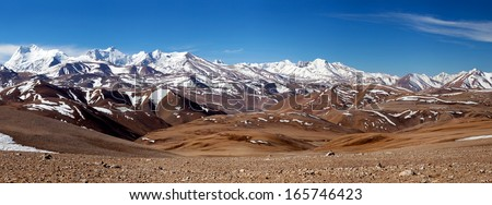 Panorama of Himalaya Mountain landscape in Ngari Prefecture, Tibet autonomous region of China - stock photo