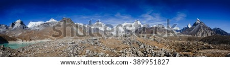 Panorama of Himalayas view from Gokyo lake trail with Everest view - stock photo