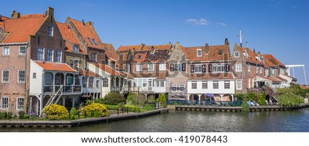Panorama of houses around the harbor in Enkhuizen, Holland - stock photo