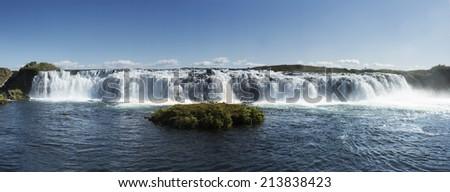 Panorama of Iceland's Skograektarrertor - Faxi Waterfall - stock photo