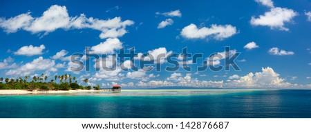 Panorama of idyllic Mantabuan island in Malaysia - stock photo