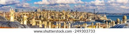 Panorama of Istanbul from the Sueymaniye Mosque - Turkey - stock photo