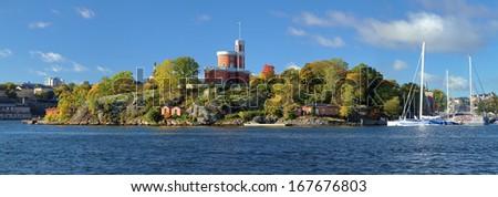 Panorama of Kastellholmen island with Small Castle (Kastellet) in Stockholm, Sweden - stock photo