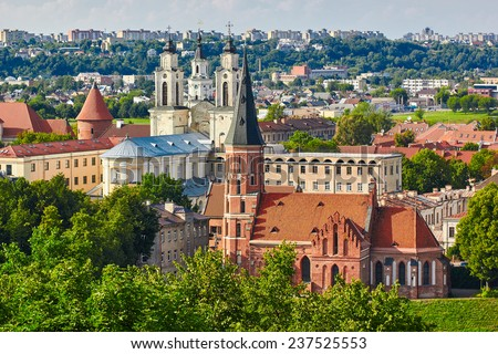Panorama of Kaunas from Aleksotas hill, Lithuania - stock photo