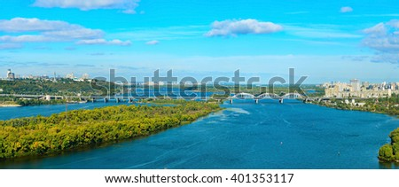 Panorama of Kiev - capital of Ukraine. Left and right bank of Dnieper river. - stock photo