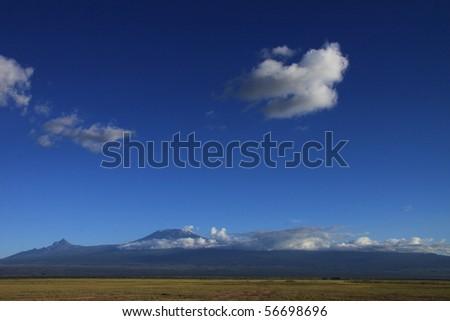 Panorama of Kilimanjaro and the Amboseli National Park - stock photo