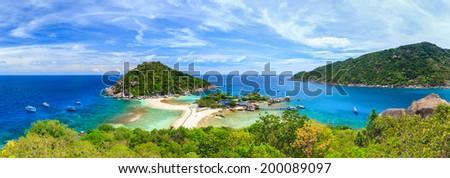 Panorama of Koh Nangyuan island, Suratthani, Southern of Thailand - stock photo