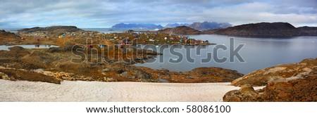 Panorama of Kulusuk, Greenland - stock photo
