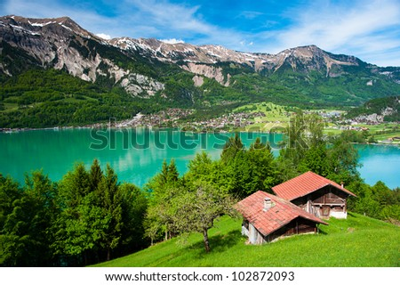 Panorama of lake Brienz with the town Brienz in the background, Switzerland - stock photo