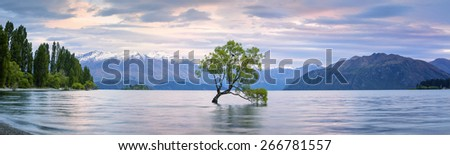 Panorama of Lake Wanaka, Otago, New Zealand - stock photo