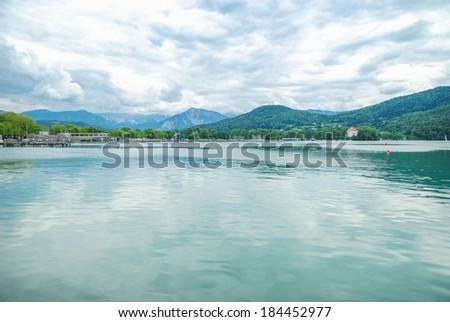 Panorama of Lake Woerthersee in Austria, Carinthia - stock photo