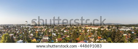 Panorama of Liesing 23rd district of Vienna with the residential complexes Alt-Erlaa. Its a city within the city Vienna with a complete infrastructure. The complexe is one of the largest in Austria. - stock photo