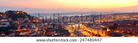 Panorama of Lisbon in the beautiful sunset light. Portugal - stock photo