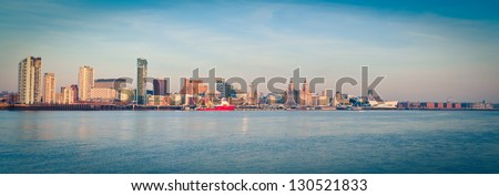 Panorama of Liverpool by day - stock photo