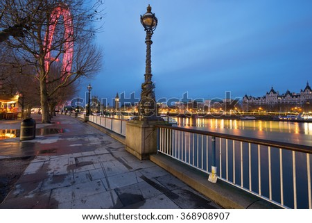 Panorama of London with Big Ben in the background before the sunrise in London,England - stock photo