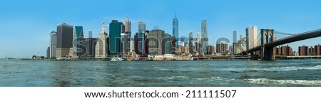 Panorama of lower manhattan in New York City - stock photo