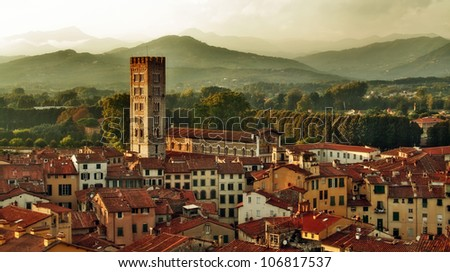 Panorama of Lucca, Tuscany, Italy - stock photo