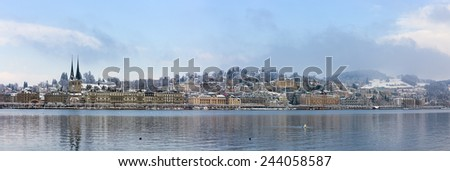 Panorama of Lucerne in the winter, Switzerland - stock photo
