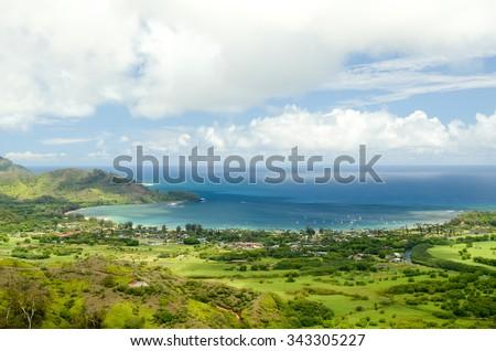 Panorama of lush Hanalei Valley to gorgeous Hanalei Bay, Kauai, Hawaii, USA - stock photo