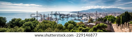 Panorama of Malaga seaport. Spain - stock photo