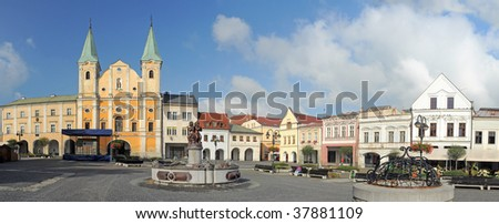 panorama of Marian square (slovak: Marianske namestie) in Zilina, Slovakia - stock photo