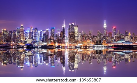 Panorama of midtown New York City - stock photo